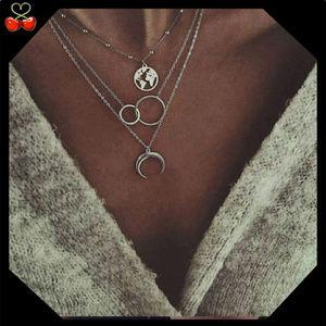 🍒 Boho Layered World Horn Necklace